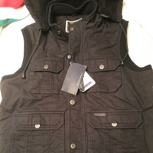 Men's Hooded Fleece Lined Cargo/Utility Vest